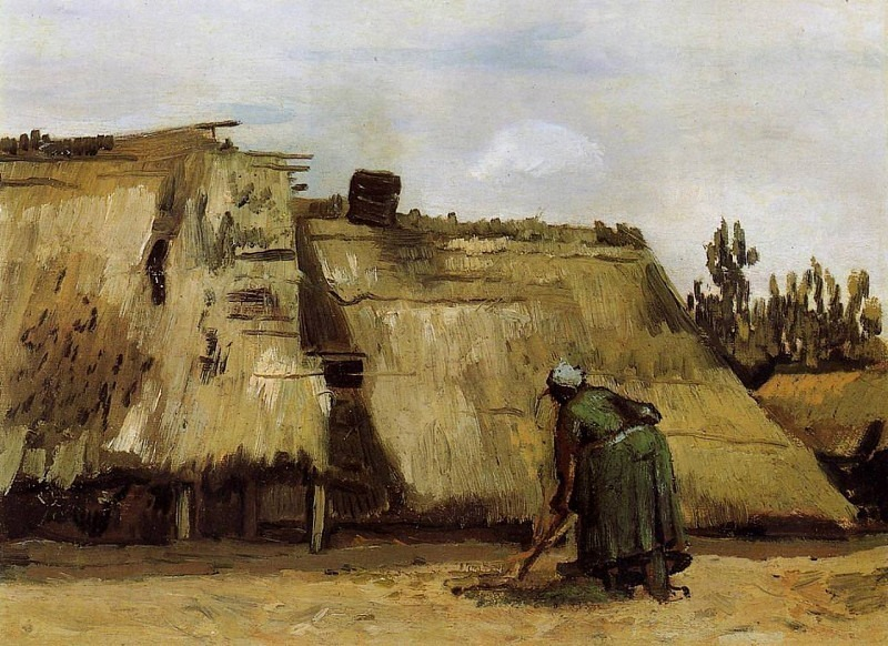 Cottage with Woman Digging. Vincent van Gogh