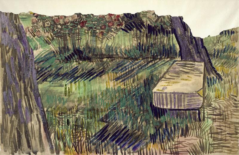 Stone Bench in the Garden of the Asylum. Vincent van Gogh