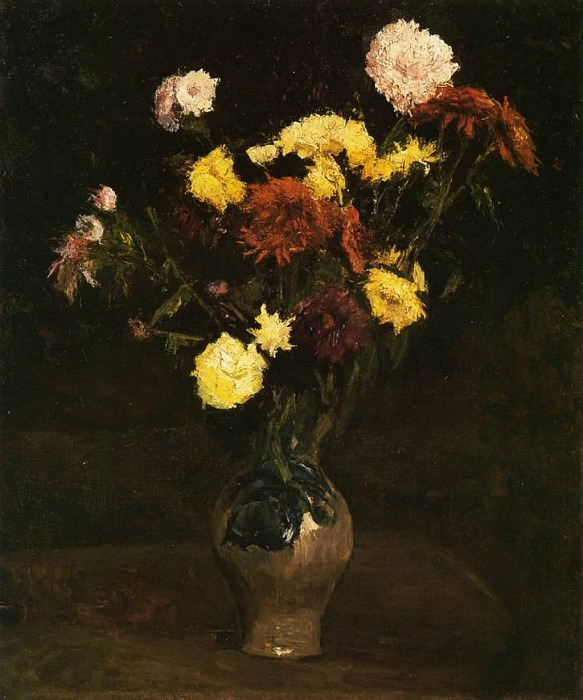 Vase of Carnations and Zinnias. Vincent van Gogh