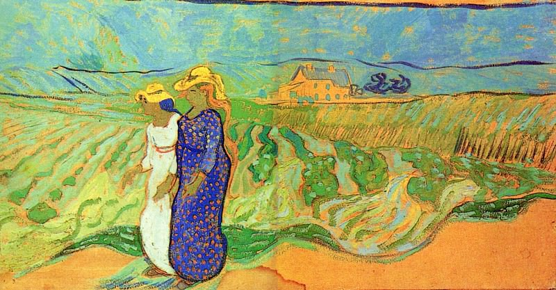 Two Women Crossing the Fields. Vincent van Gogh