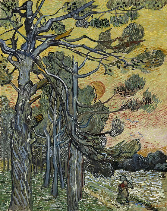 Pine Trees against a Red Sky with Setting Sun. Vincent van Gogh