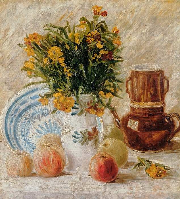 Vase with Flowers, Coffeepot and Fruit. Vincent van Gogh