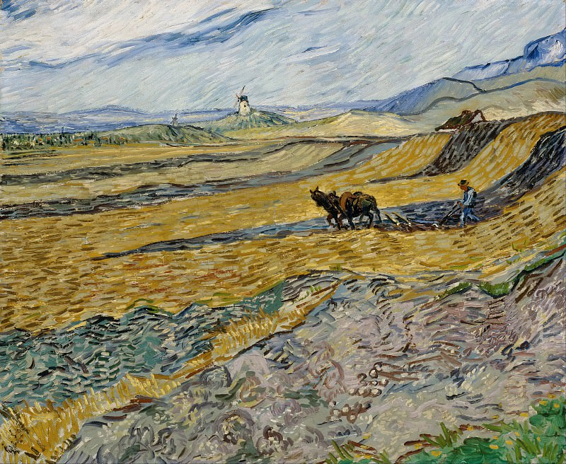 Field and Ploughman and Mill. Vincent van Gogh