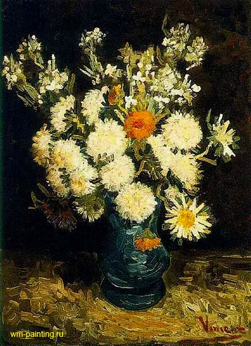 Flowers in the Blue Vase. Vincent van Gogh
