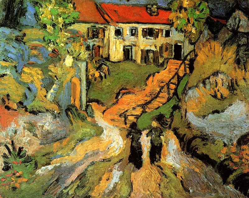 Street and Steps in Auvers with Two Figures. Vincent van Gogh