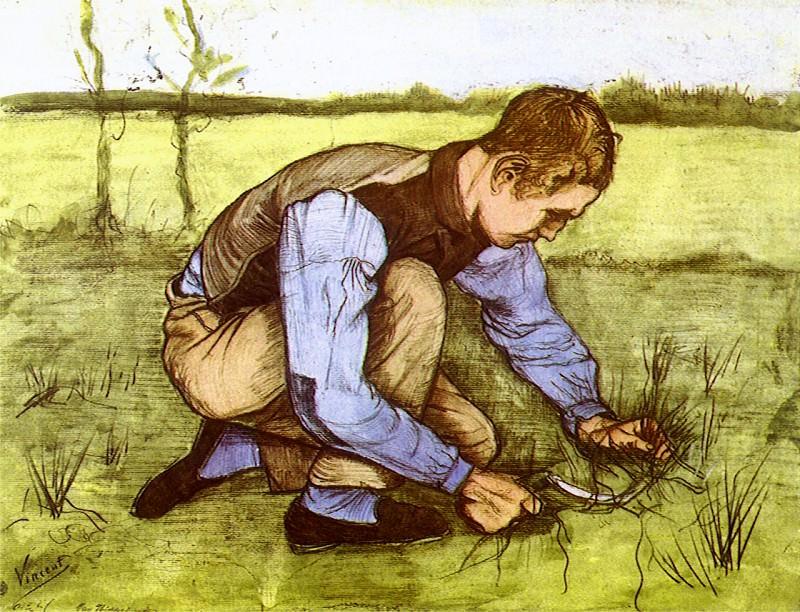 Boy Cutting Grass with a Sickle. Vincent van Gogh