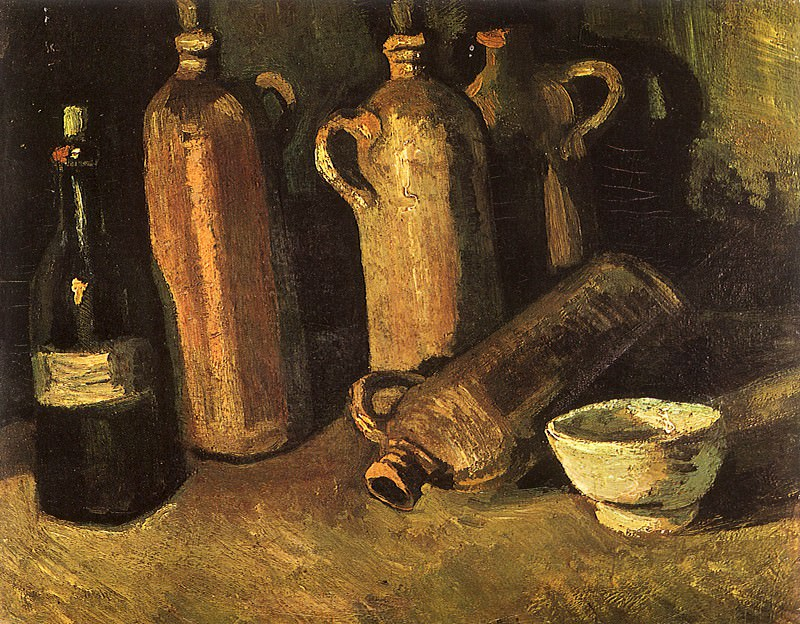 Still Life with Four Stone Bottles, Flask and White Cup. Vincent van Gogh