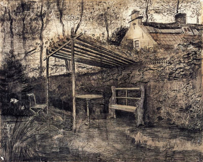 The Garden of the Parsonage with Arbor. Vincent van Gogh