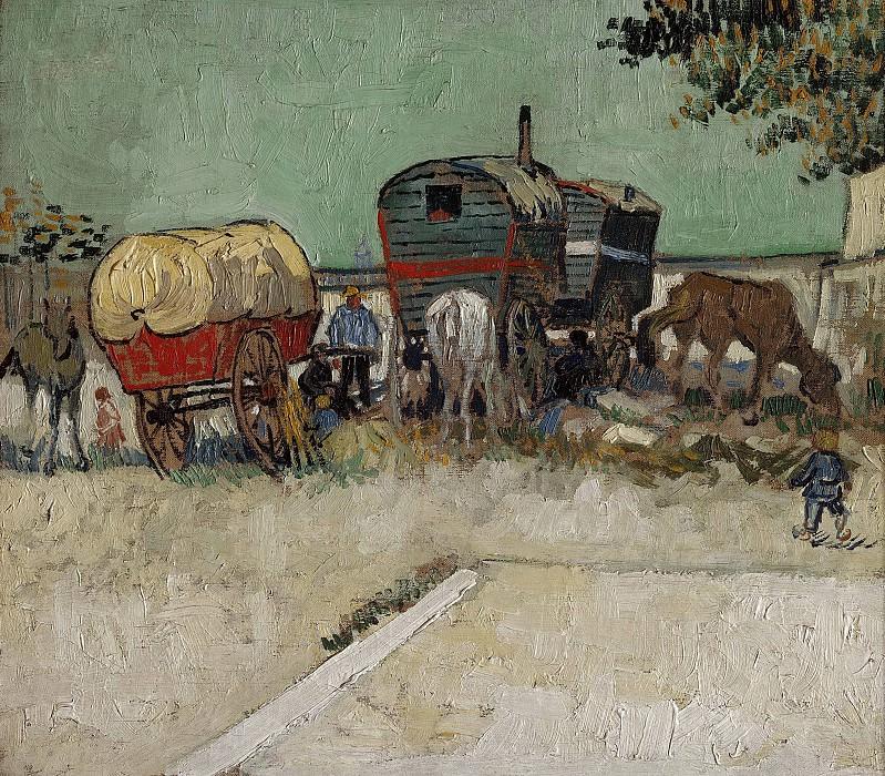 Encampment of Gypsies with Caravans. Vincent van Gogh