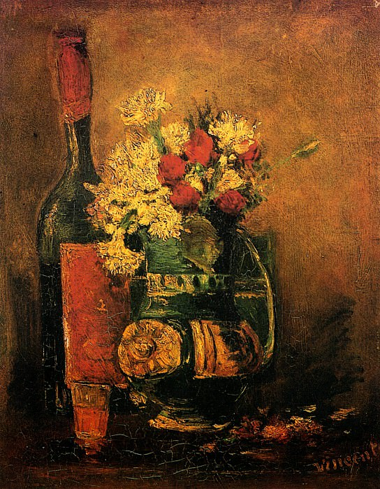 Vase with Carnations and Roses (attr.). Vincent van Gogh