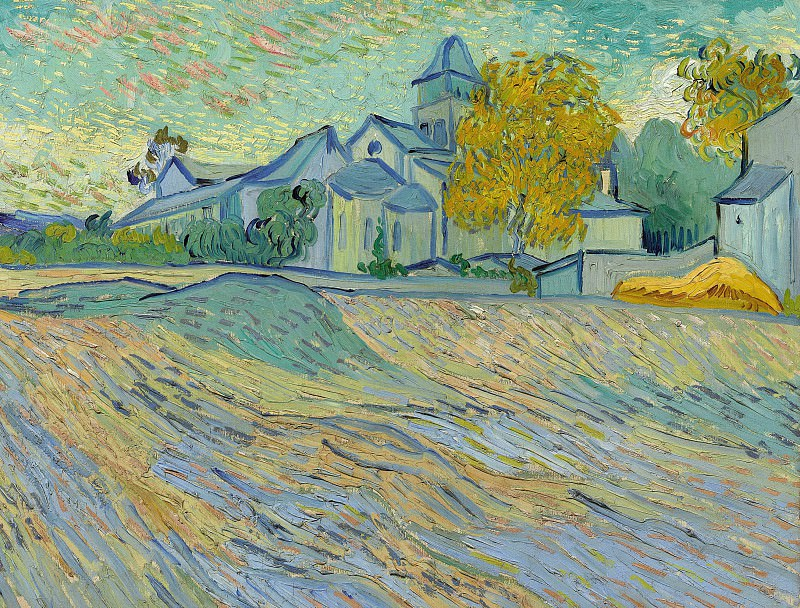 View of the Asylum and Chapel Saint-Paul de Mausole at Saint Remy. Vincent van Gogh