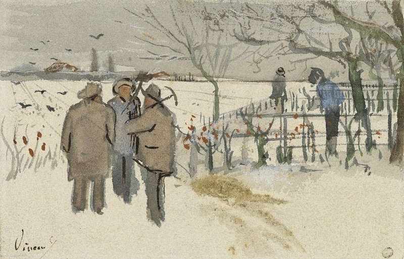 Miners in the Snow Winter. Vincent van Gogh
