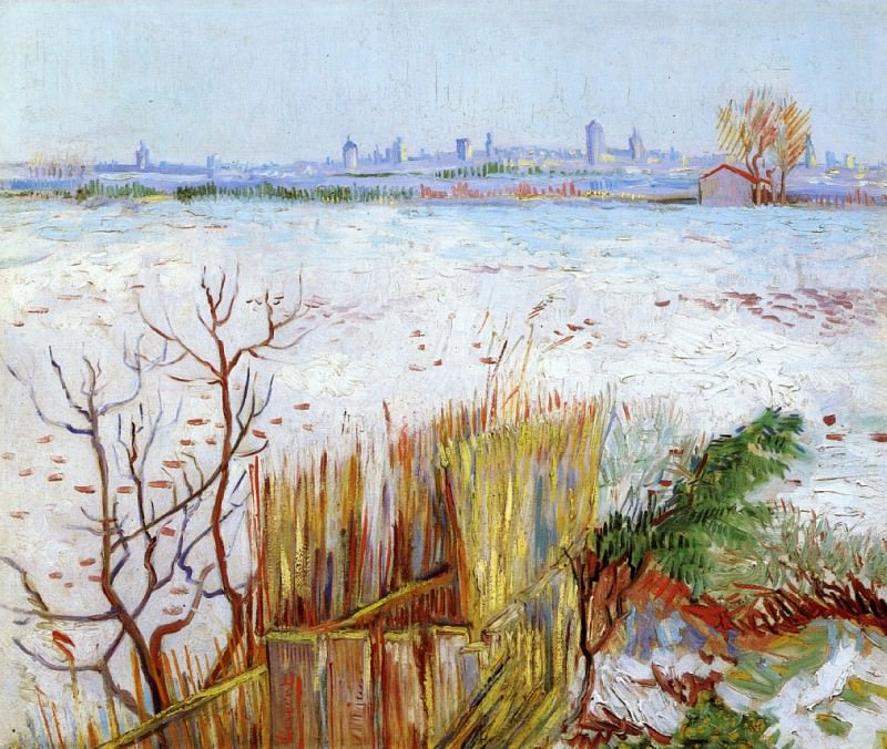 Snowy Landscape with Arles in the Background. Vincent van Gogh