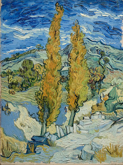 Two Poplars on a Road Through the Hills. Vincent van Gogh