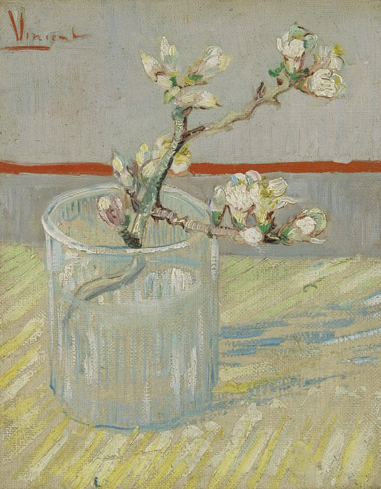 Blossoming Almond Branch in a Glass. Vincent van Gogh