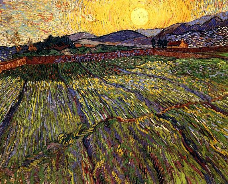 Wheat Field with Rising Sun. Vincent van Gogh