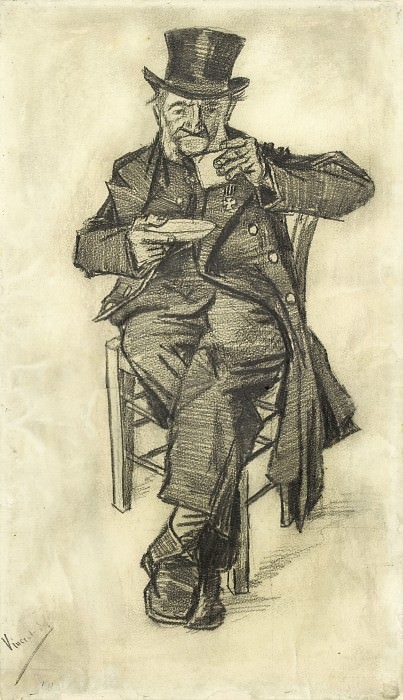 Old Man with Top Hat, Drinking Coffee. Vincent van Gogh