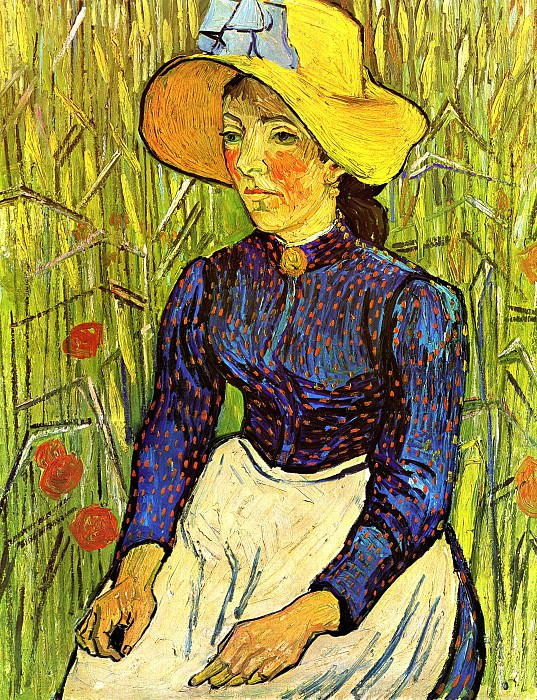 Young Peasant Woman with Straw Hat Sitting in the Wheat. Vincent van Gogh