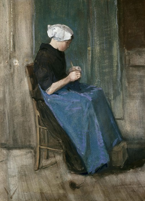 Scheveningen Woman Sewing. Vincent van Gogh