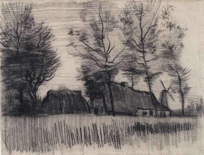Landscape with Cottages and a Mill. Vincent van Gogh