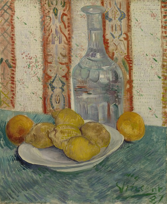 Still Life with Decanter and Lemons on a Plate. Vincent van Gogh