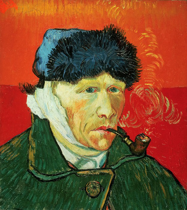 Self-Portrait with Bandaged Ear and Pipe. Vincent van Gogh