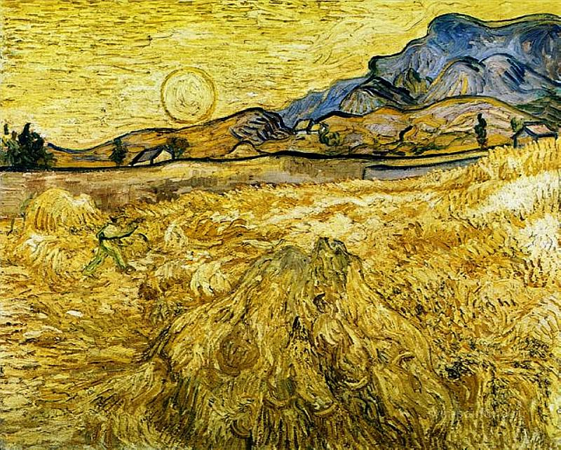 Wheat Field with Reaper and Sun. Vincent van Gogh