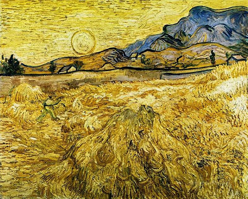 Пшеничное поле со жнецом и солнцем. Винсент Ван Гог