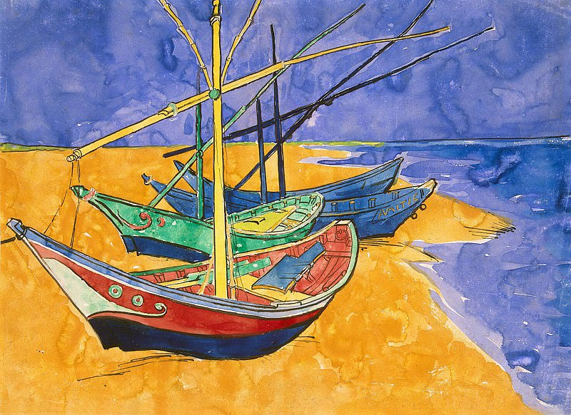 Fishing Boats on the Beach. Vincent van Gogh