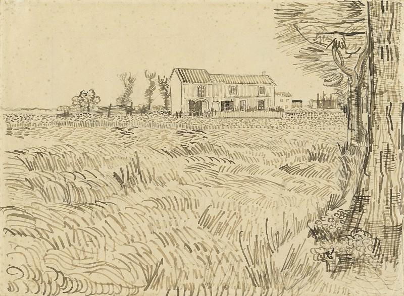 Farmhouse in a Wheat Field. Vincent van Gogh