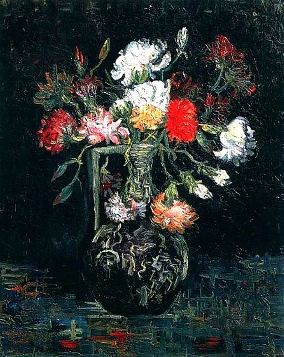 Vase with White and Red Carnations. Vincent van Gogh