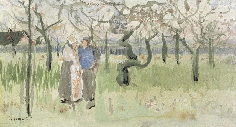 Orchard in Blossom with Two Figures. Vincent van Gogh