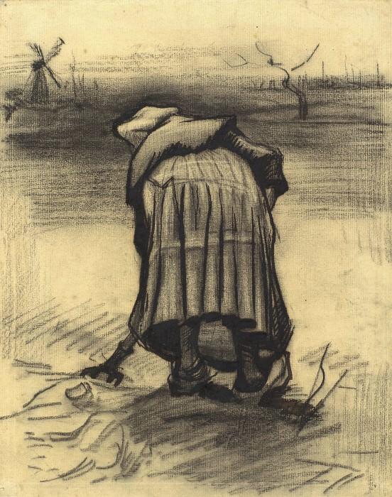 Peasant Woman Lifting Potatoes. Vincent van Gogh