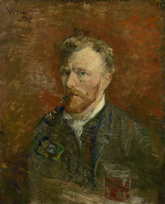 Self-Portrait with Pipe and Glass. Vincent van Gogh