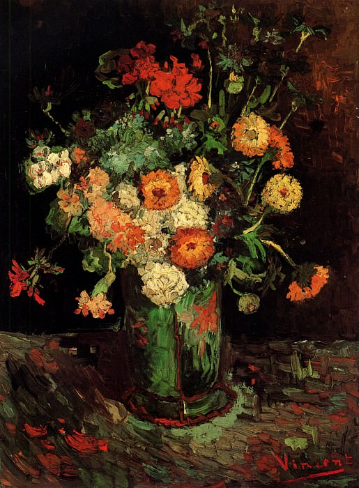 Vase with Zinnias and Geraniums. Vincent van Gogh