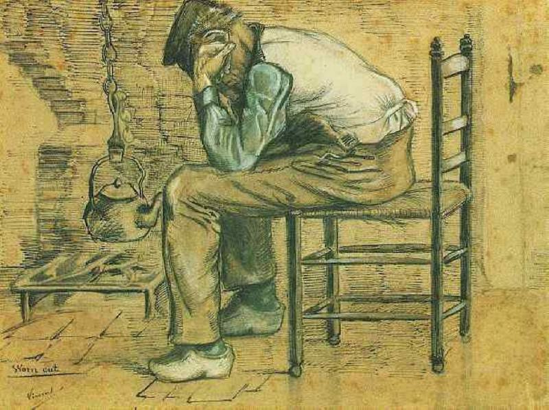 Peasant Sitting by the Fireplace. Vincent van Gogh