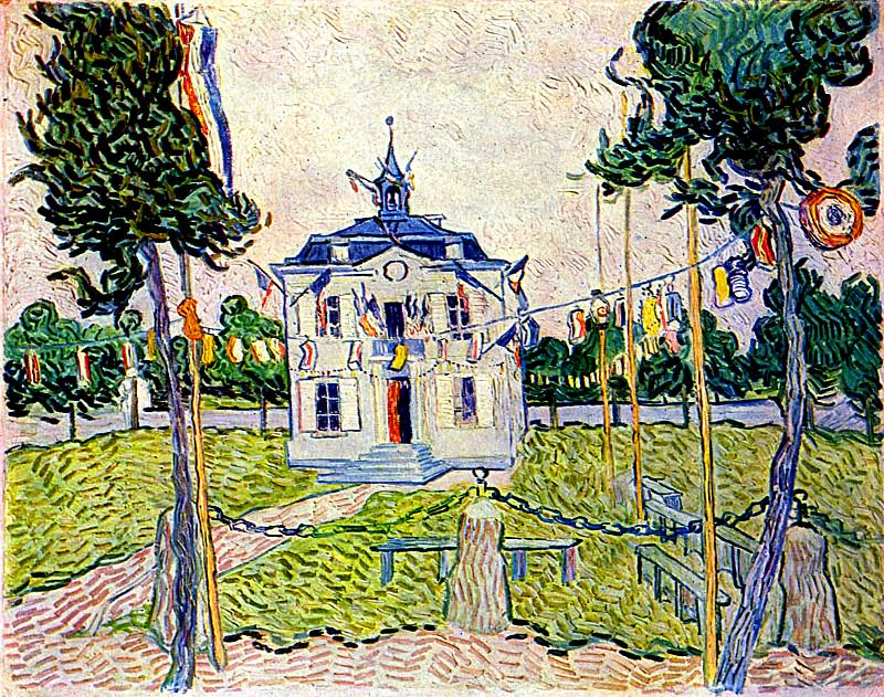 Auvers Town Hall in 14 July 1890. Vincent van Gogh