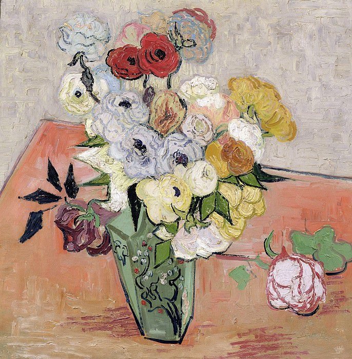 Japanese Vase with Roses and Anemones. Vincent van Gogh