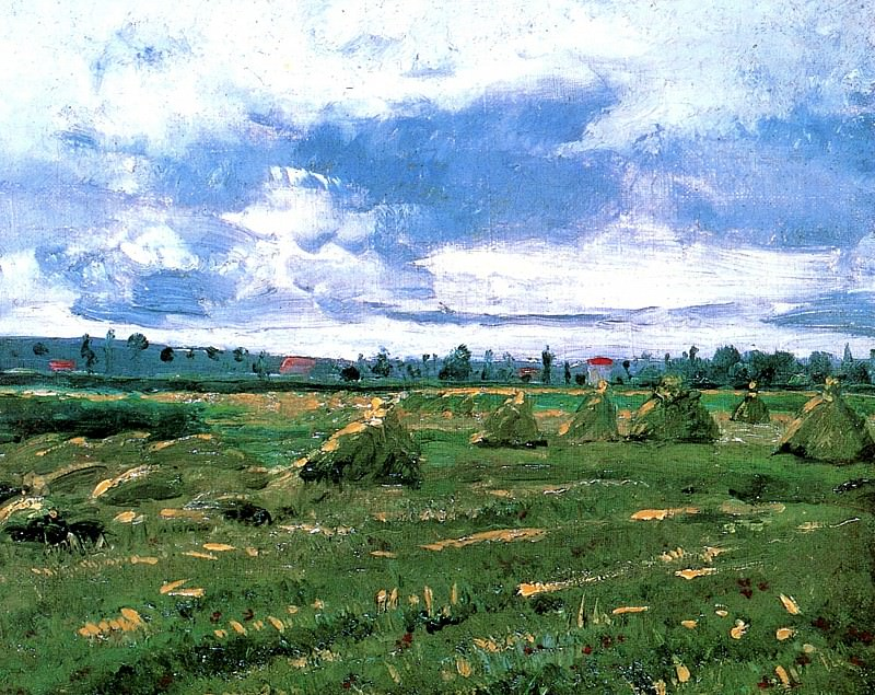 Wheat Fields with Stacks. Vincent van Gogh