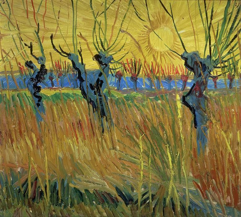Подстриженные ивы с заходящим солнцем. Винсент Ван Гог