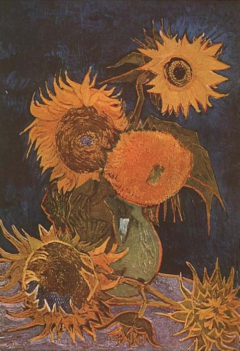 Vase with Five Sunflowers. Vincent van Gogh