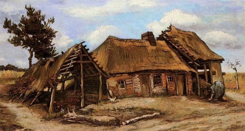Cottage with Decrepit Barn and Stooping Woman. Vincent van Gogh