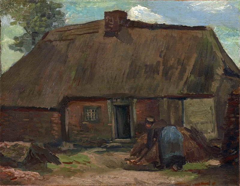 Cottage with Peasant Woman Digging. Vincent van Gogh