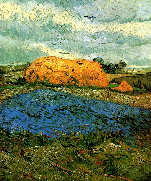 Haystacks under a Rainy Sky. Vincent van Gogh
