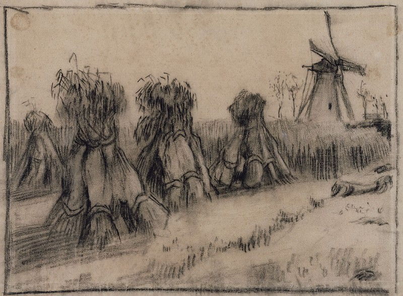 Wheat Field with Sheaves and a Windmill. Vincent van Gogh
