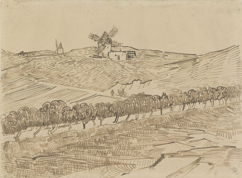Landscape with Windmills at Fontvieille. Vincent van Gogh