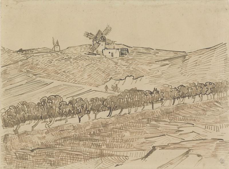 Пейзаж с мельницами в Фонвьее. Винсент Ван Гог