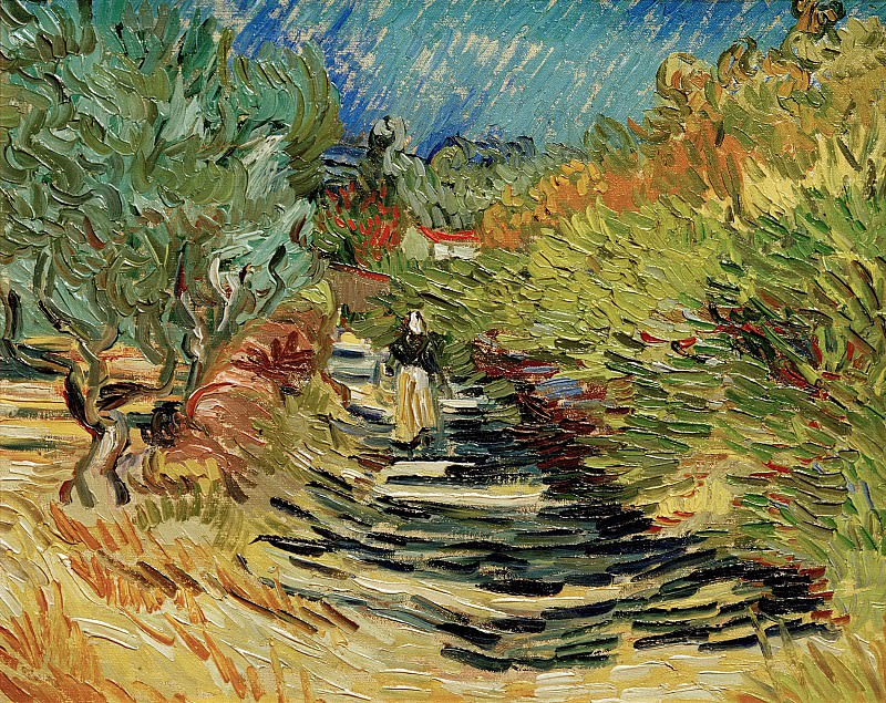 A Road at Saint-Remy with Female Figure. Vincent van Gogh