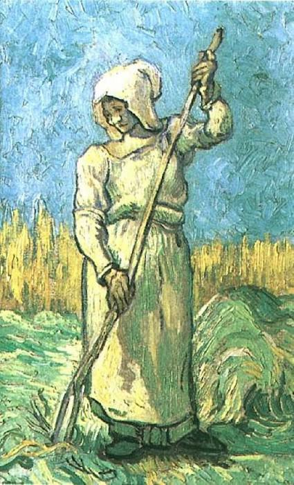 Peasant Woman with a Rake (after Millet). Vincent van Gogh