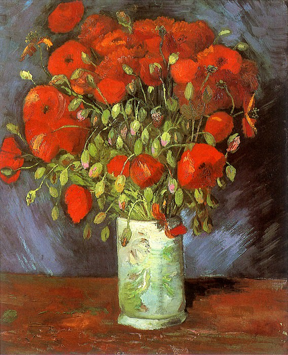 Vase with Red Poppies. Vincent van Gogh